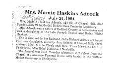 Mamie Kathleen <i>Haskins</i> Adcock