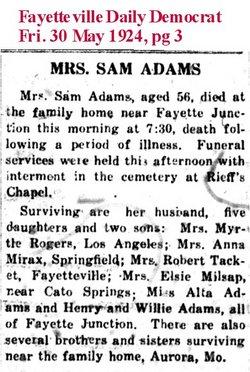 Mrs Dora E <i>Sims</i> Adams