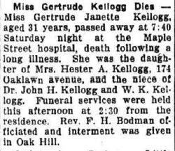 Gertrude J Kellogg