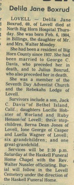 Delila Jane <i>Mooney</i> Boxrud