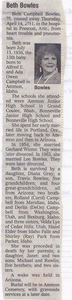 Beth <i>Campbell</i> Bowles