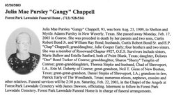Julia Mae Gangy <i>Pursley</i> Bonds Chappell