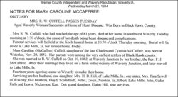 Mary Caroline <i>McCaffree</i> Cuffel
