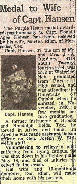 Capt Donald Agee Hansen
