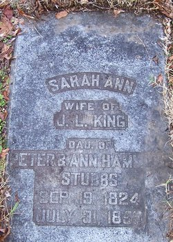 Sarah Ann <i>Stubbs</i> King