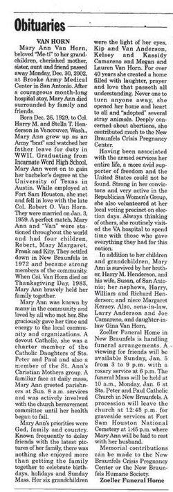 Mary Ann Cushie <i>Henderson</i> Van Horn
