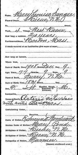 Mary Louisa <i>Woodward</i> Sanger