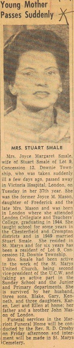 Joyce Margaret <i>Mason</i> Smale