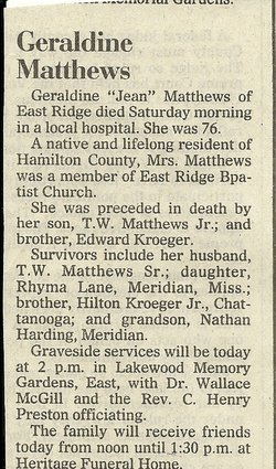 Geraldine <i>Kroeger</i> Matthews