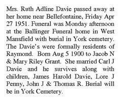Ruth Adline <i>Grant</i> Davie