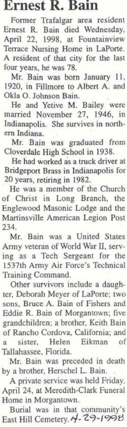 Ernest R Bain