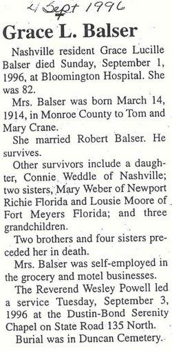 Grace Lucille <i>Crane</i> Balser