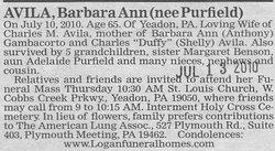 Barbara Ann <i>Purfield</i> Avila