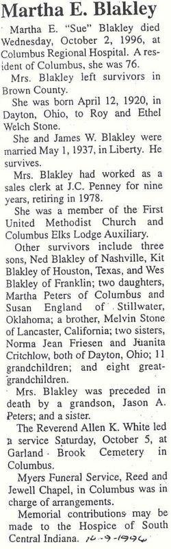 Martha E Sue <i>Stone</i> Blakley