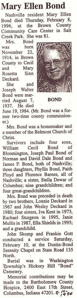 Mary Ellen <i>Deckard</i> Bond