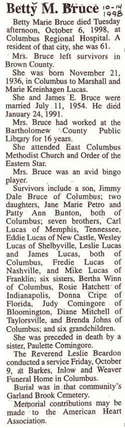 Betty Marie <i>Lucas</i> Bruce