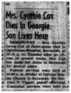 Cynthia <i>Lewis</i> Cox
