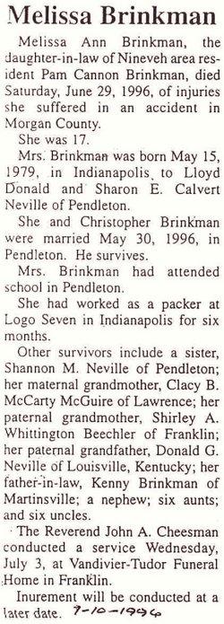 Melissa Ann <i>Neville</i> Brinkman