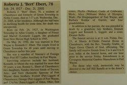 Roberta J Bert <i>Liggett</i> Ebert