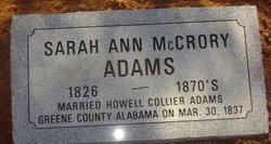 Sarah Ann <i>McCrory</i> Adams