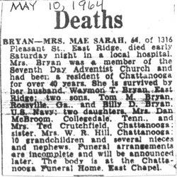 Sarah Mae <i>Hicks</i> Bryan