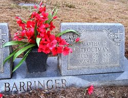 Martha Dinah <i>Troutman</i> Barringer