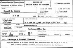 Sgt Donald C Bowers