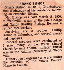 Franklin Frank Bishop