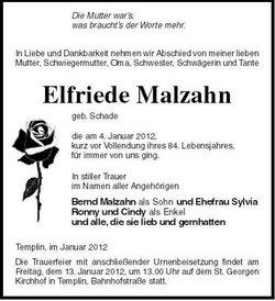 Elfriede <i>Schade</i> Malzahn