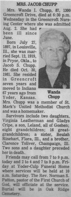Wanda Irene <i>Toliver</i> Chupp