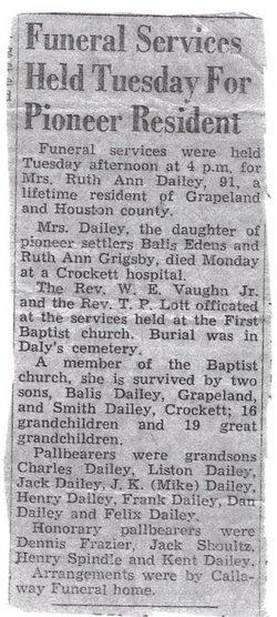 Ruth Ann <i>Edens</i> Dailey
