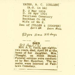 Amanda C. Acie or A.C. <i>Cullen</i> Yates
