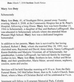 Mary Ann <i>Leffingwell</i> Doty