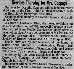 Dorothy A <i>Price</i> Coppage