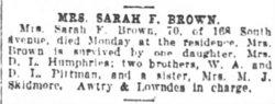 Sarah F. <i>Pittman</i> Brown