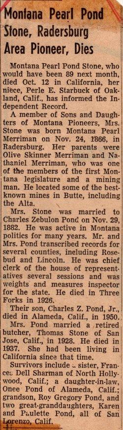 Montana Pearl <i>Merriman</i> Stone