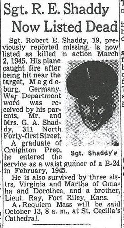 Sgt Robert E Shaddy
