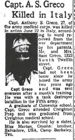 Capt Anthony S Greco