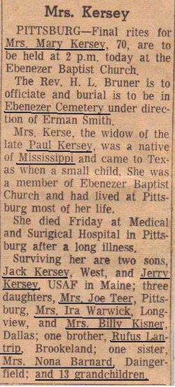 Mary Elizabeth <i>Lantrip</i> Kersey