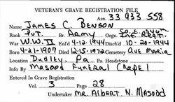 Pvt James C Benson