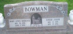Mary Lewis <i>Hadlock</i> Bowman
