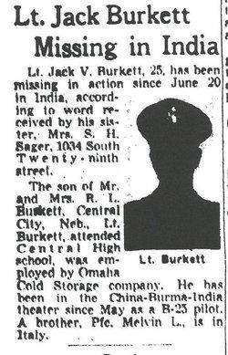 2Lt Jack V Burkett