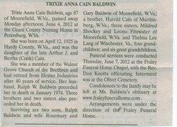 Trixie Anna <i>Cain</i> Baldwin