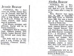 Aletha Jennie <i>Bugher</i> Beaver