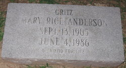 Mary Rice Critz Anderson