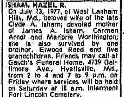 Hazel <i>Reed</i> Isham