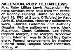 Ruby Lillian <i>Lewis</i> McLendon