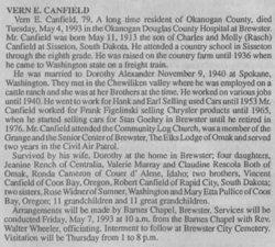 Vern E Canfield