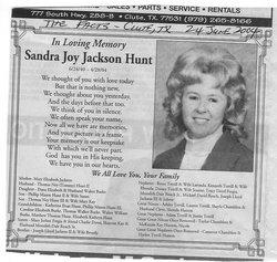 Sandra Joy <i>Jackson</i> Hunt