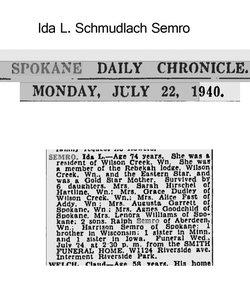 Ida L. <i>Schmudlach</i> Semro